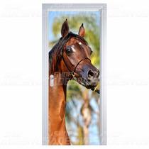 Adesivo Decorativo De Porta Sala Quarto Madeira Cavalo