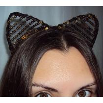 Fantasia Tiara Mulher Gato Com Tule E Lantejoulas Douradas