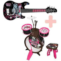 Kit Musical Monster High * Guitarra + Bateria Com Banco!