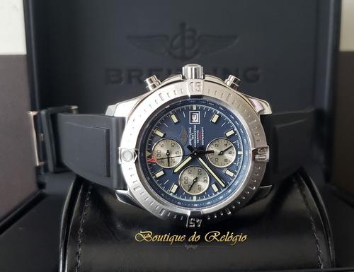 8fde7c58af8 Relógio Eta - Modelo Chronomat 44 Blue Dial - Puls Borracha