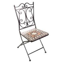 Cadeira Metal C/aplique Mármore Resinado Retrô G10310