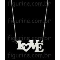 Colar Com Pingente Escrito Love Em Prata 925