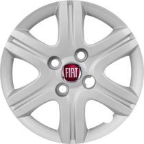 Jogo Calota Aro 13 Siena Uno Vivace Palio Emblema Fiat Metal