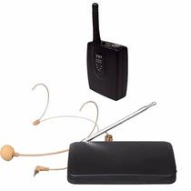 Microfone Sem Fio Auricular Vhf De Cabeça Headset Cor Pele