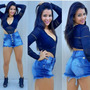 Shorts Jeans Cintura Alta Hot Pants Disco Pant Curto Panicat