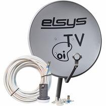 Kit Antena 60cm Oi Tv Kit Ante Banda Ku + Lnb + 20mt De Cab