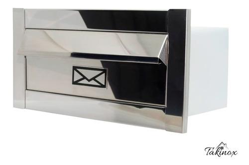 Caixa De Correio Frente Inox Carta Luxo Moderna Frete Grátis