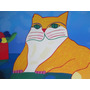 Aldemir Martins Serigrafia 50x70 Gato Amarelo E Vaso Flores Original