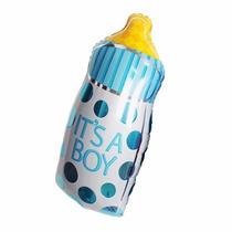 05 Balão Metalizado Mamadeira Azul 35cm - Chá De Bebê, Festa