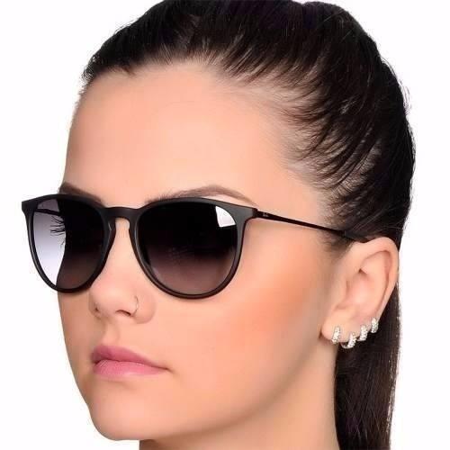 95dd4c7c5 Óculos Sol Feminino Masculino Preto Fosco Redondo Sem Veludo