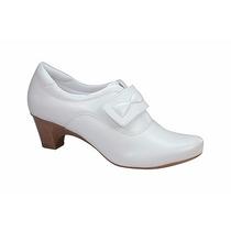 Sapato Branco Feminino De Couro Enfermagem Neftali Ref. 4752
