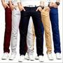 Calças Jeans Sarja Masculina Skinny C/ Lycra Coloridas Original