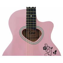 Violão Elétrico Estudante Personalizado Cordas/aço Pink-core