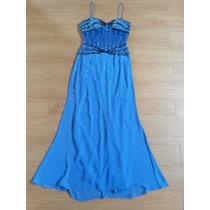 Vestido Fino Azul Bordado Lindissimo Festas Madrinha #39