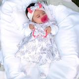 Saída De Maternidade Menina Vestido Enxoval De Bebê 5. Peças
