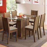 Conjunto Sala De Jantar Gales Madesa Mesa Com 6 Cadeiras