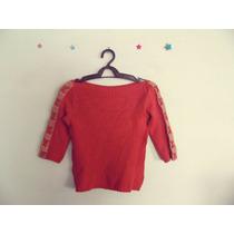Blusa Feminina Vermelha Tricot Detalhe Couro Cód. 264