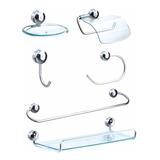 Kit De Acessórios Para Banheiro 6 Peças Metal Alumínio E Abs