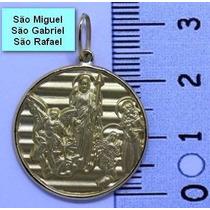 Medalha São Miguel São Rafael São Gabriel Arcanjo De Ouro18k