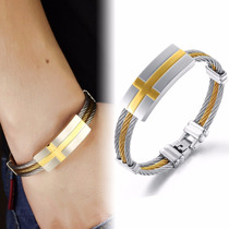 Pulseira Bracelete Masculina Couro Banhada Ouro 18k Luxo