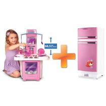 Kit Cozinha Infantil Fogãozinho + Geladeira Mágica Meg 8051l