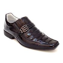 Sapato Social Verniz Masculino Couro Legítimo Lançamento