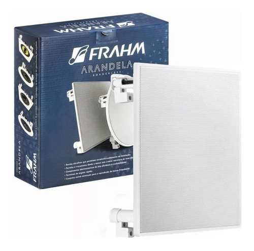 Arandela Quadrada 6  Som Ambiente Embutir Teto Gesso Auto Falante Full Range Borderless 40w Rms Frahm