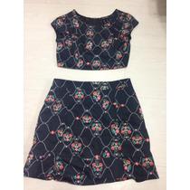 Croped Dress To - Saia E Top Floral Usado Roupa Feminina