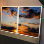 Kit Quadros C/ Vidro Por Do Sol Passaros Natureza Decorativo Original