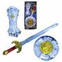Kit Medieval 3 Pç Cavaleiro Gladiador Espada Escudo Bracelet