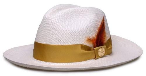 Chapéu Panamá Original Faixa Dourada Penas Coloridas Unissex. R  289.9 8351433da35