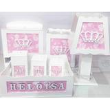 Kit Higiene Bebe Mdf 7 Pçs Menina Vários Temas Personalizado
