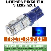 Lâmpada Pingo 9 Led Azul T10 Luz Farolete Teto Placa