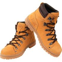 Bota Boot Amarelo Mostarda 100% Couro Solado Latex Costurado