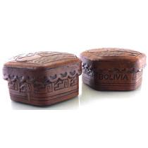 Conjunto Com Tres Porta- Joias Feito De Couro De Lhama B1580