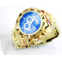 Relógio Invicta Dourado Com Azul+caixa Á Pronta Entrega Top