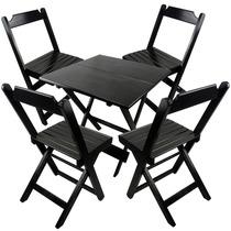 Conjunto Mesa E Cadeira Dobrável De Madeira 70x70cm Preto -