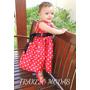 Vestido Vermelho Infantil De Bolinhas Brancas Anos 60