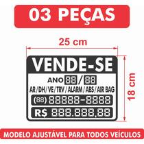 Adesivo Vende-se Carro Automóveis 03 Peças + Frete Grátis