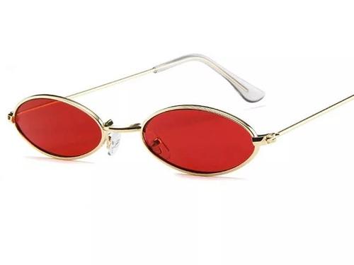 Óculos Sol Oval Pequeno Trap Hype Retro Vermelho Unissex 299857ad8f