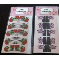 10 Cartelas Adesivos Impressos Fundo Branco/frete Fixo