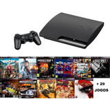 Playstation 3 Slim 160gb Ps3 + Controle + 40 Jgs - Fifa 19