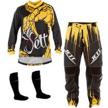 Kit Calça + Camisa Jett Collors Veneno Amarelo Motocross