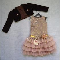 Vestido Rosa Com Blusinha Marron - Bambina Fashion