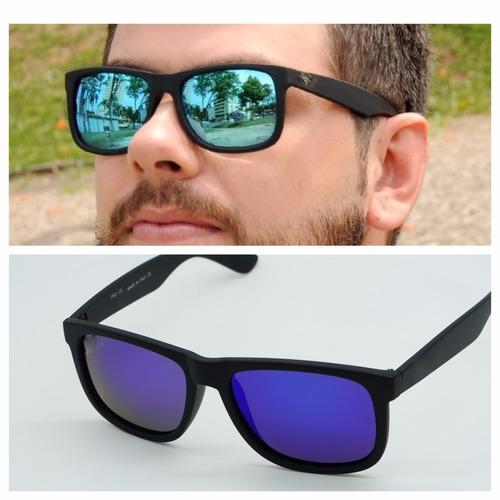 Óculos Masculino Quadrado Justin Espelhado Azul Polarizado. R  79.6 cebf18d47f
