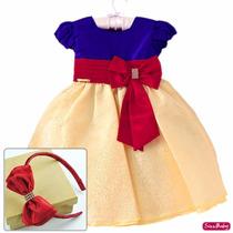 Vestido Infantil Festa Luxo Branca De Neve Com Tiara