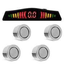 Sensor Ré Para Carro 4 Pontos Cromado Display Led Colorido