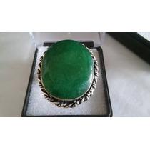 Anel Feminino Com Pedra Grande Esmeralda Natural Aro 20/21