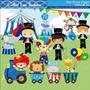 Kit Digital Meninos Circo Azul Imagens Scrapbook Cl15