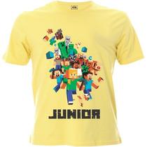 Camiseta Infantil Do Minecraft Personalizada Com Nome